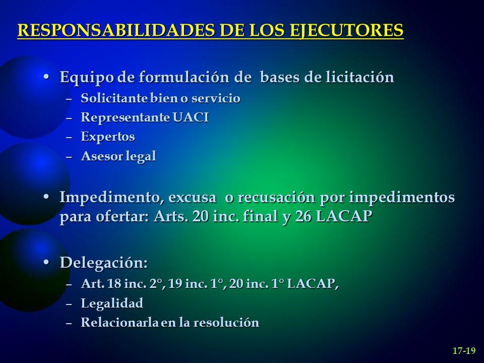 RESPONSABILIDADES DE LOS EJECUTORES