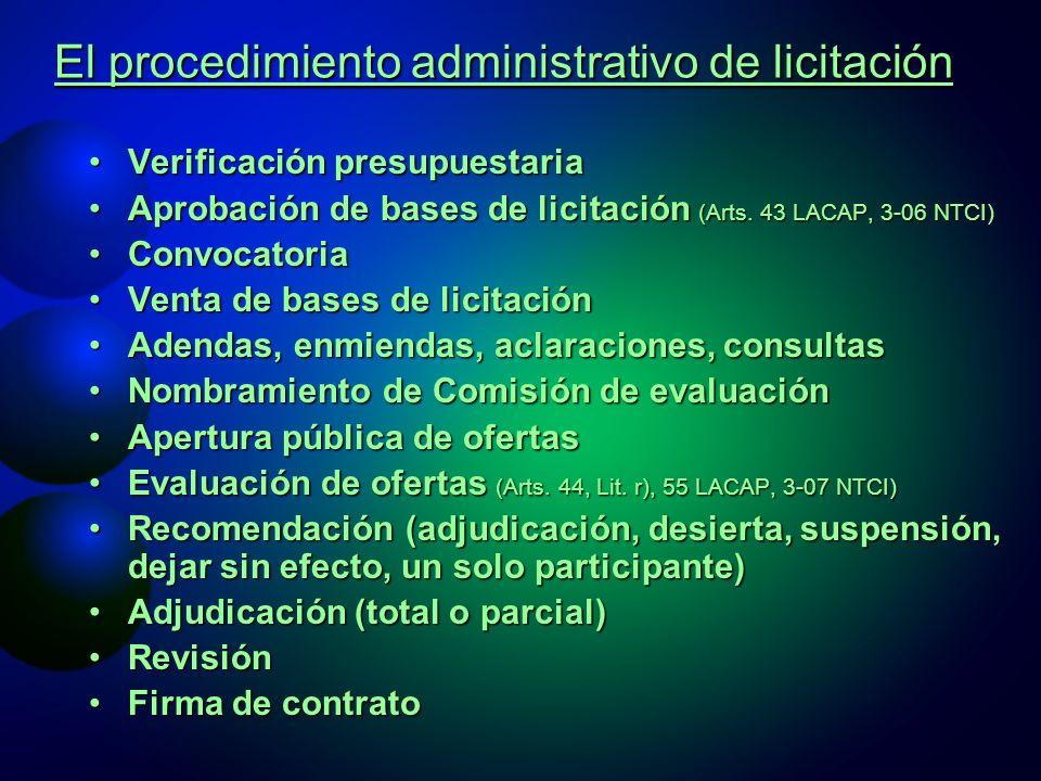 El procedimiento administrativo de licitación