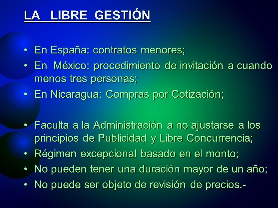 LA LIBRE GESTIÓN En España: contratos menores;