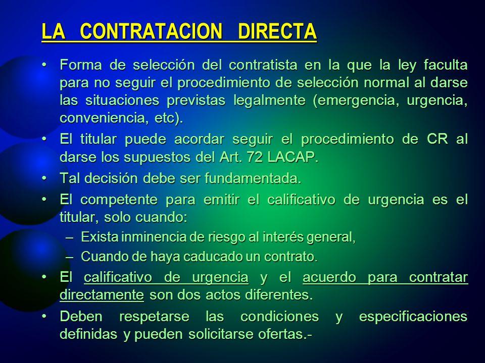 LA CONTRATACION DIRECTA