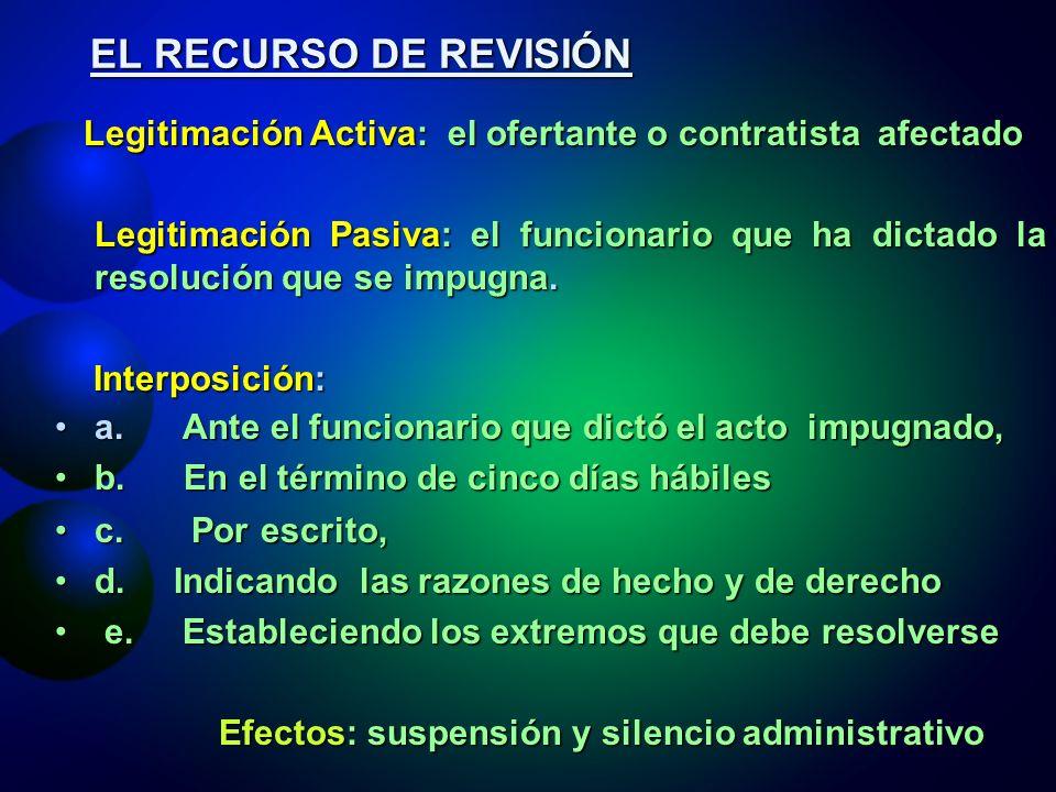EL RECURSO DE REVISIÓN Legitimación Activa: el ofertante o contratista afectado.