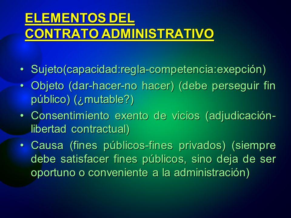 ELEMENTOS DEL CONTRATO ADMINISTRATIVO