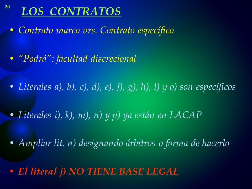 LOS CONTRATOS Contrato marco vrs. Contrato específico