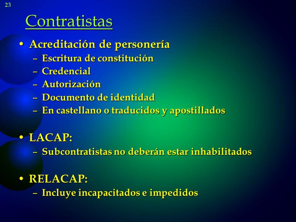 Contratistas Acreditación de personería LACAP: RELACAP:
