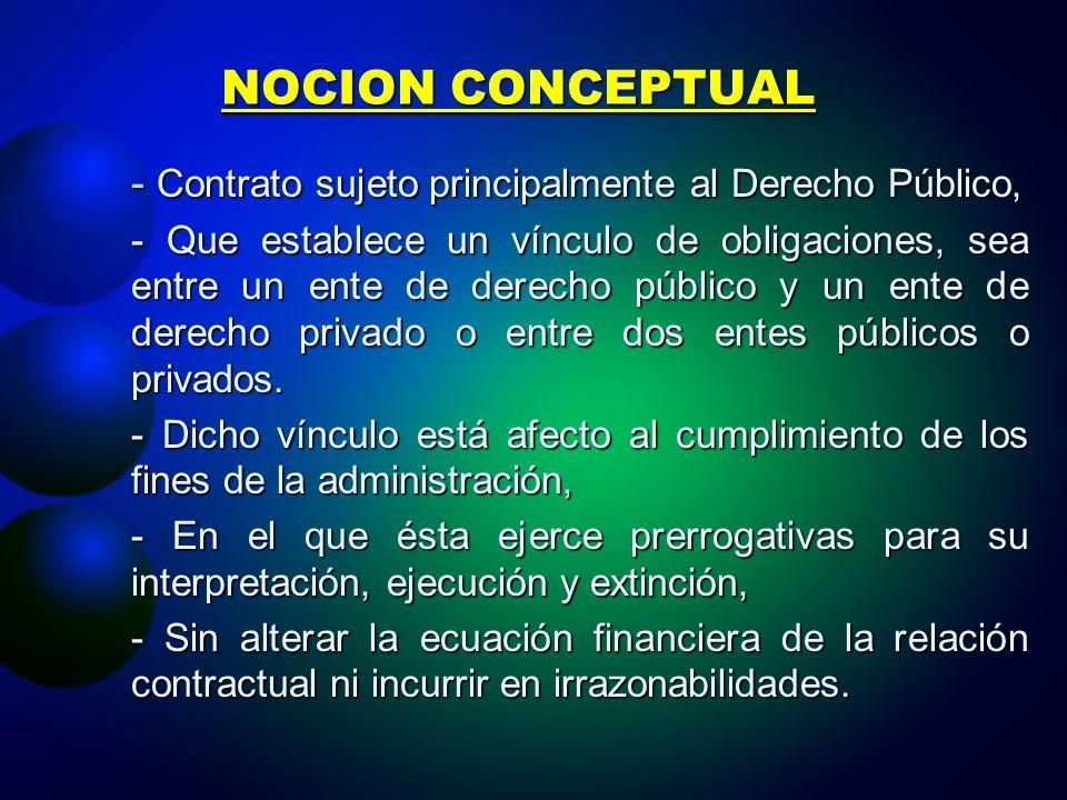 NOCION CONCEPTUAL - Contrato sujeto principalmente al Derecho Público,