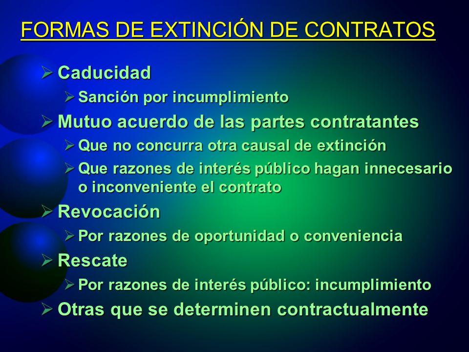 FORMAS DE EXTINCIÓN DE CONTRATOS