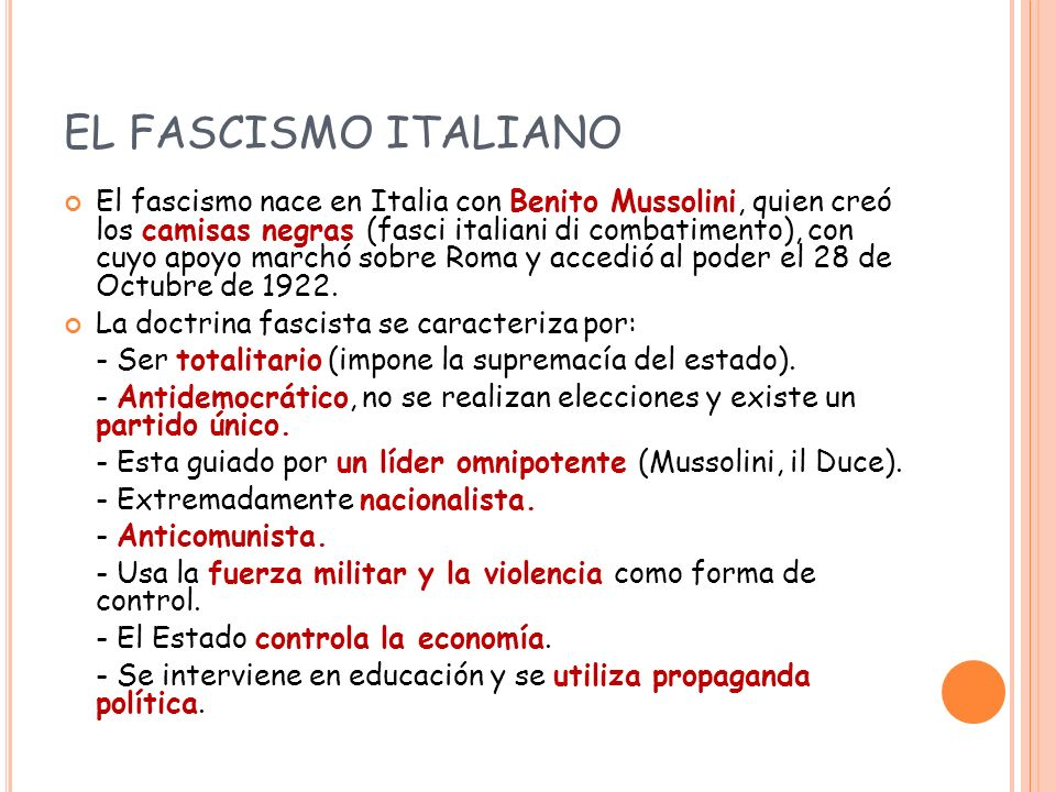 EL FASCISMO ITALIANO