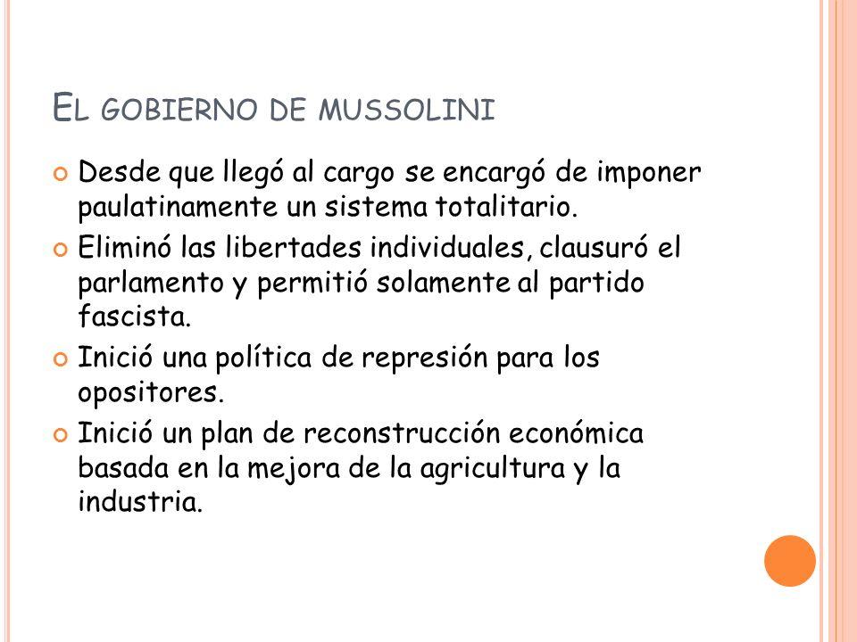 El gobierno de mussolini