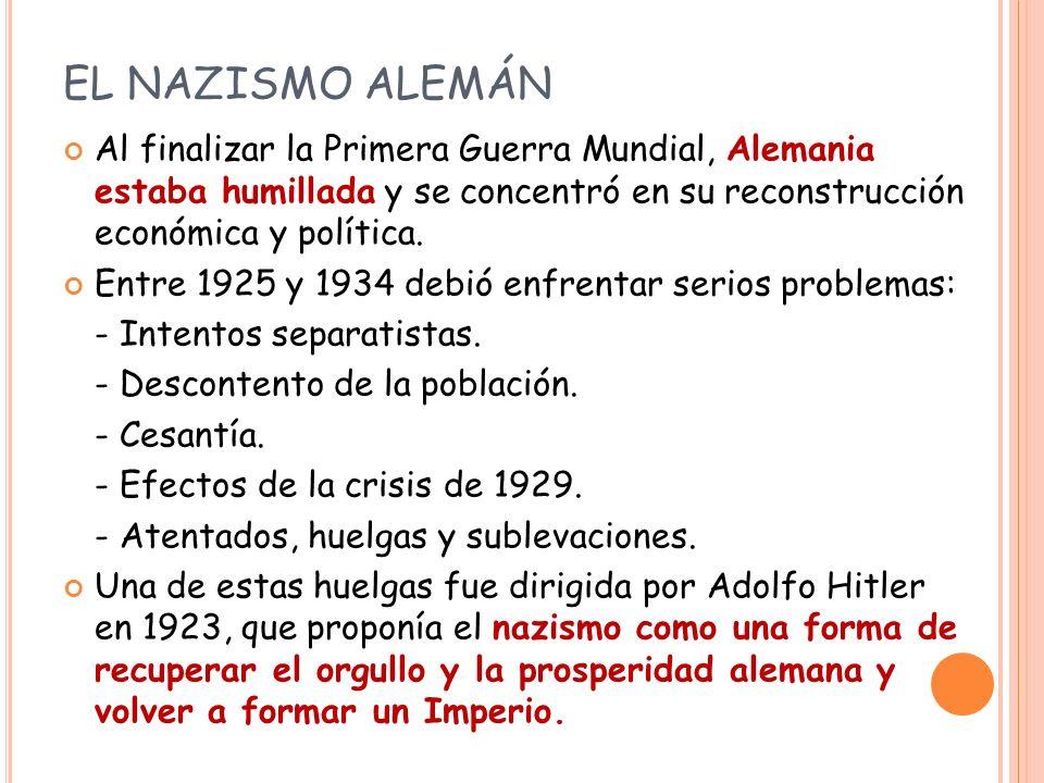 EL NAZISMO ALEMÁN Al finalizar la Primera Guerra Mundial, Alemania estaba humillada y se concentró en su reconstrucción económica y política.