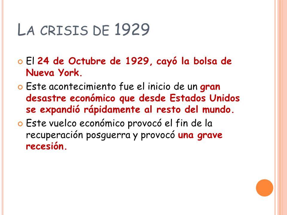 La crisis de 1929 El 24 de Octubre de 1929, cayó la bolsa de Nueva York.