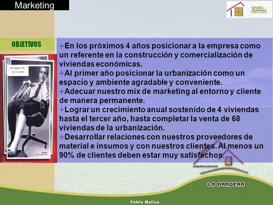 Marketing OBJETIVOS. En los próximos 4 años posicionar a la empresa como un referente en la construcción y comercialización de viviendas económicas.