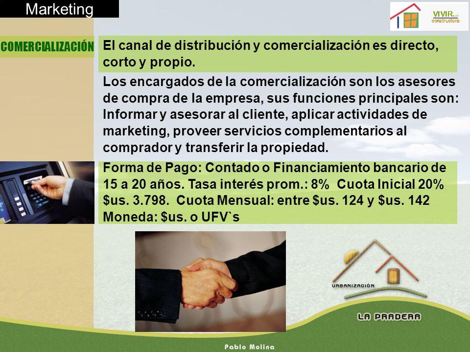 Marketing COMERCIALIZACIÓN. El canal de distribución y comercialización es directo, corto y propio.