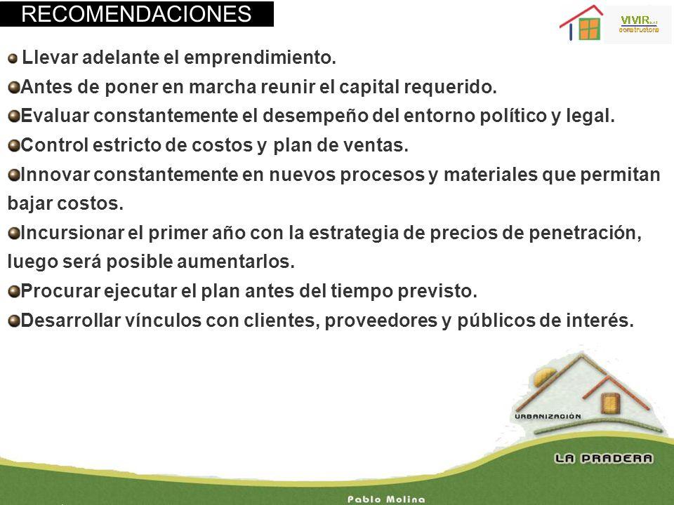RECOMENDACIONES Antes de poner en marcha reunir el capital requerido.