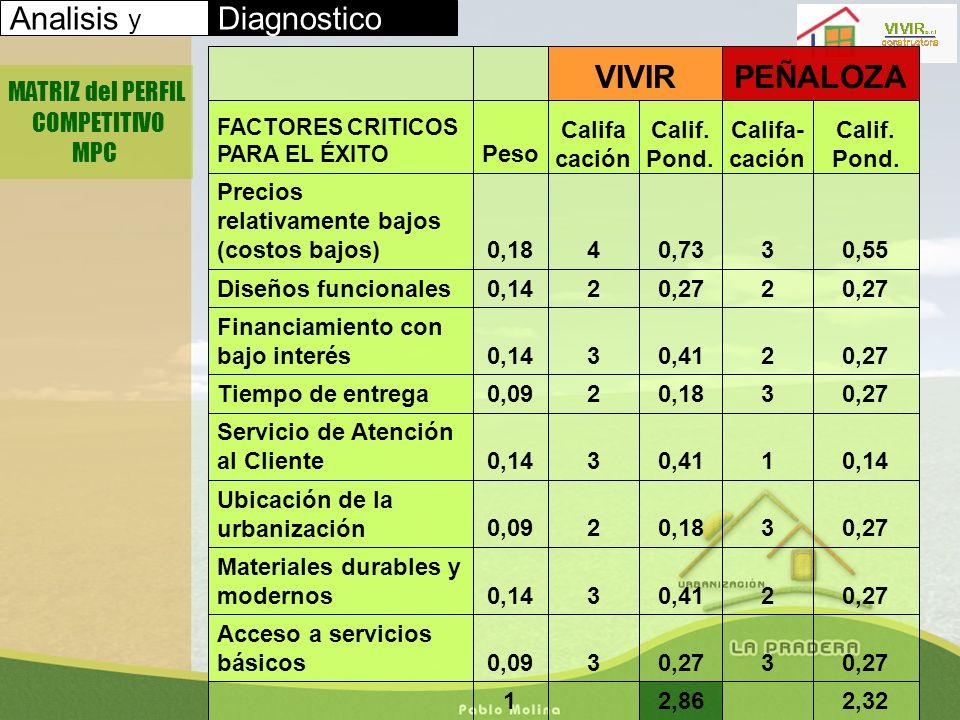 Analisis y Diagnostico PEÑALOZA VIVIR MATRIZ del PERFIL COMPETITIVO