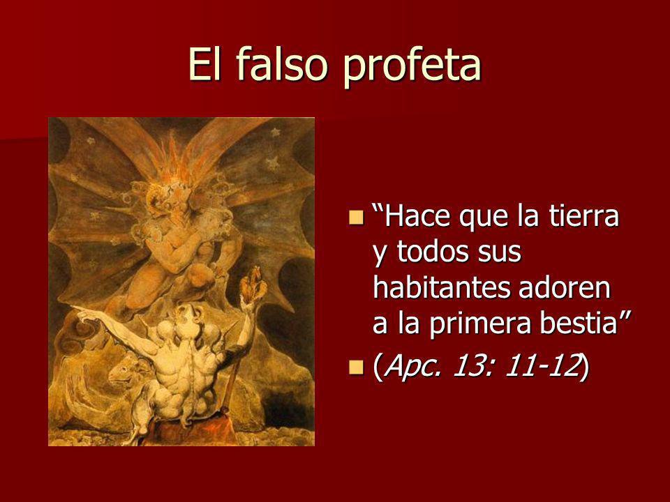 El falso profeta Hace que la tierra y todos sus habitantes adoren a la primera bestia (Apc.