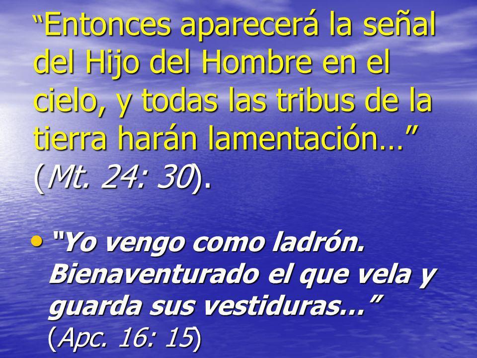 Entonces aparecerá la señal del Hijo del Hombre en el cielo, y todas las tribus de la tierra harán lamentación… (Mt. 24: 30).