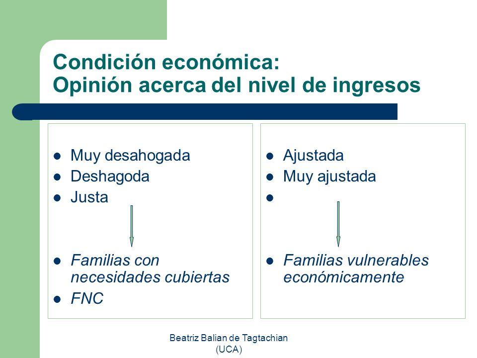 Condición económica: Opinión acerca del nivel de ingresos