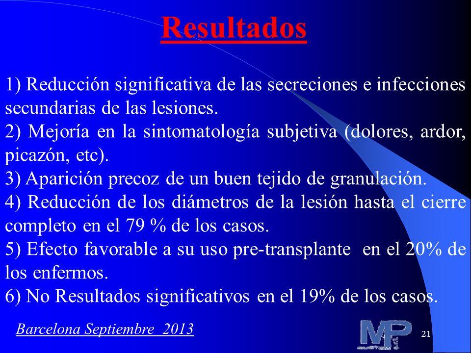 Resultados 1) Reducción significativa de las secreciones e infecciones secundarias de las lesiones.