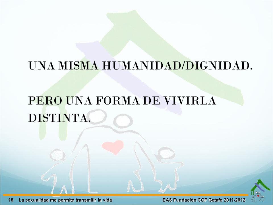 UNA MISMA HUMANIDAD/DIGNIDAD. PERO UNA FORMA DE VIVIRLA DISTINTA.