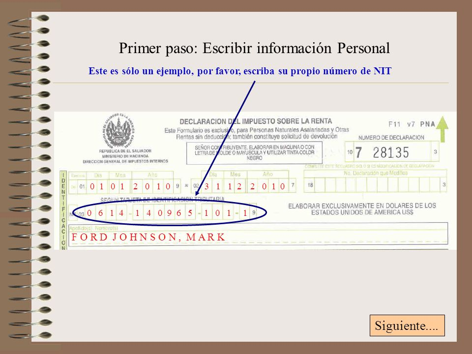 Primer paso: Escribir información Personal