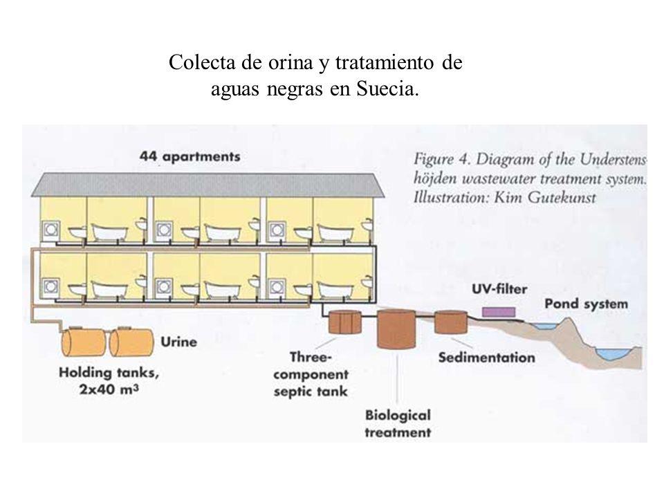 Colecta de orina y tratamiento de aguas negras en Suecia.