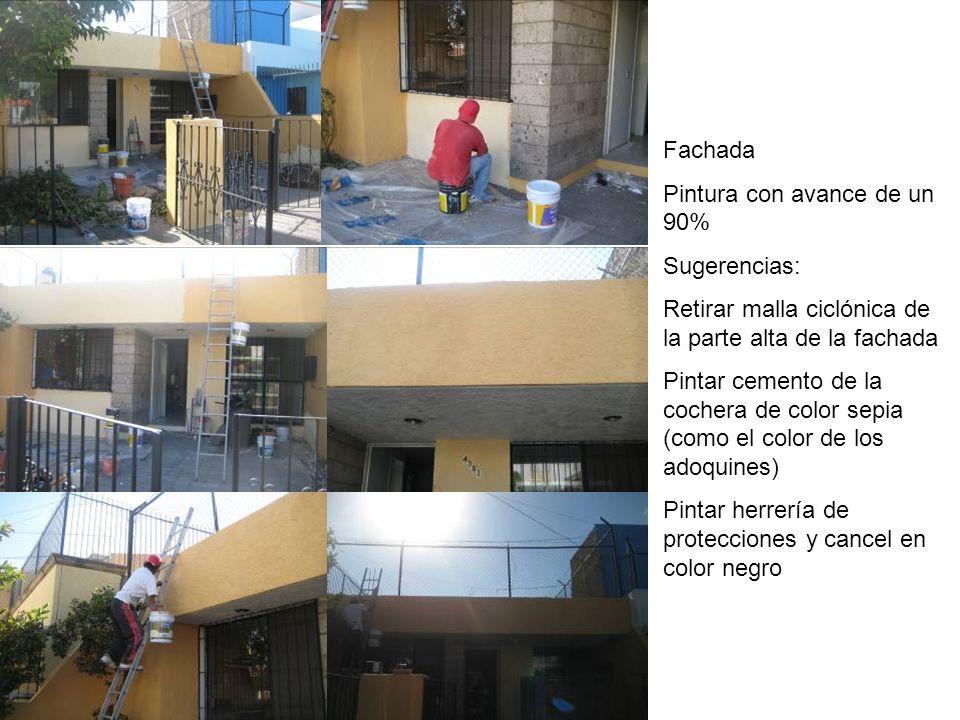 Fachada Pintura con avance de un 90% Sugerencias: Retirar malla ciclónica de la parte alta de la fachada.