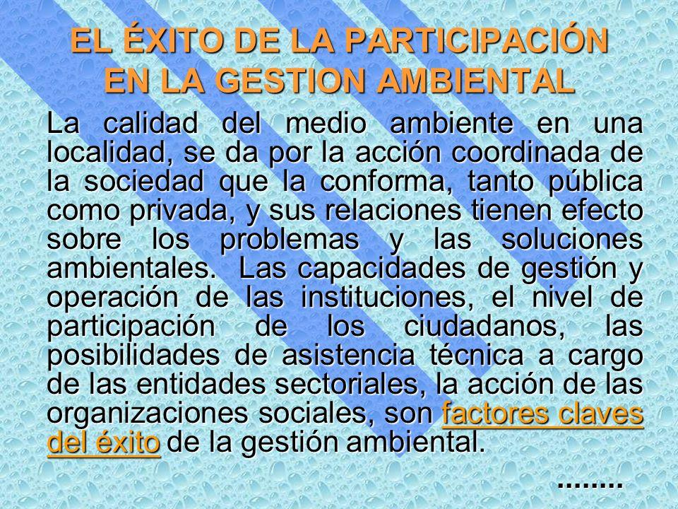 EL ÉXITO DE LA PARTICIPACIÓN EN LA GESTION AMBIENTAL