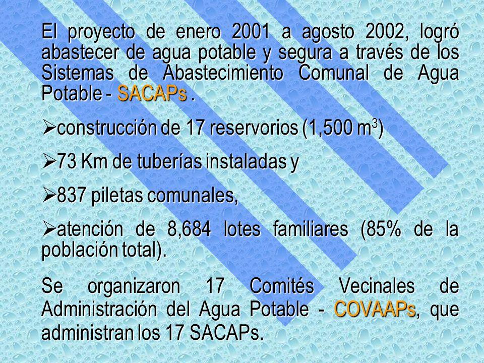 El proyecto de enero 2001 a agosto 2002, logró abastecer de agua potable y segura a través de los Sistemas de Abastecimiento Comunal de Agua Potable - SACAPs .