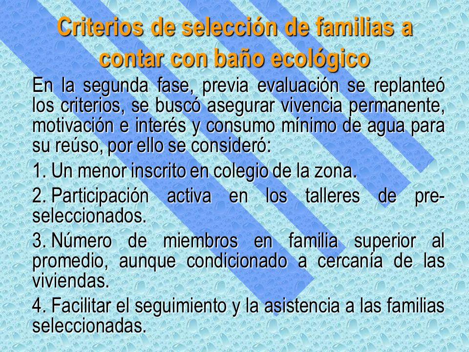 Criterios de selección de familias a contar con baño ecológico