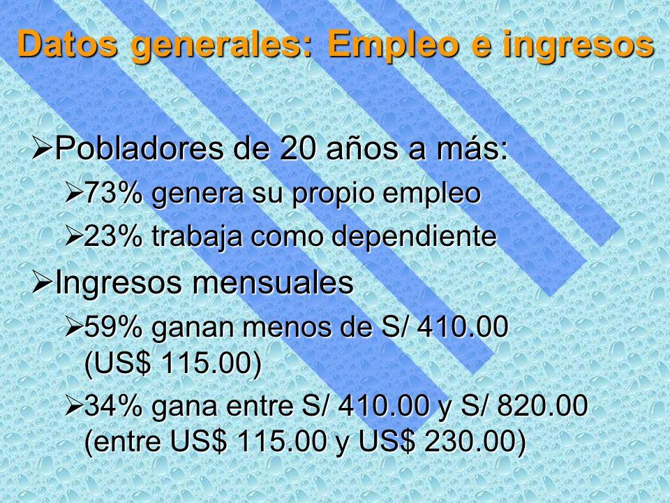 Datos generales: Empleo e ingresos