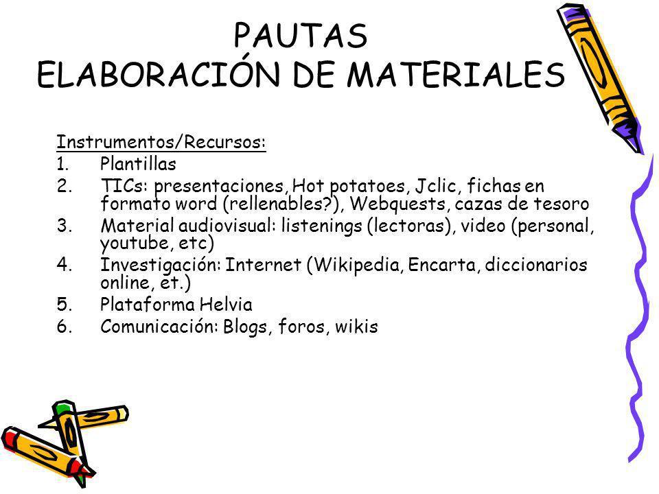 PAUTAS ELABORACIÓN DE MATERIALES