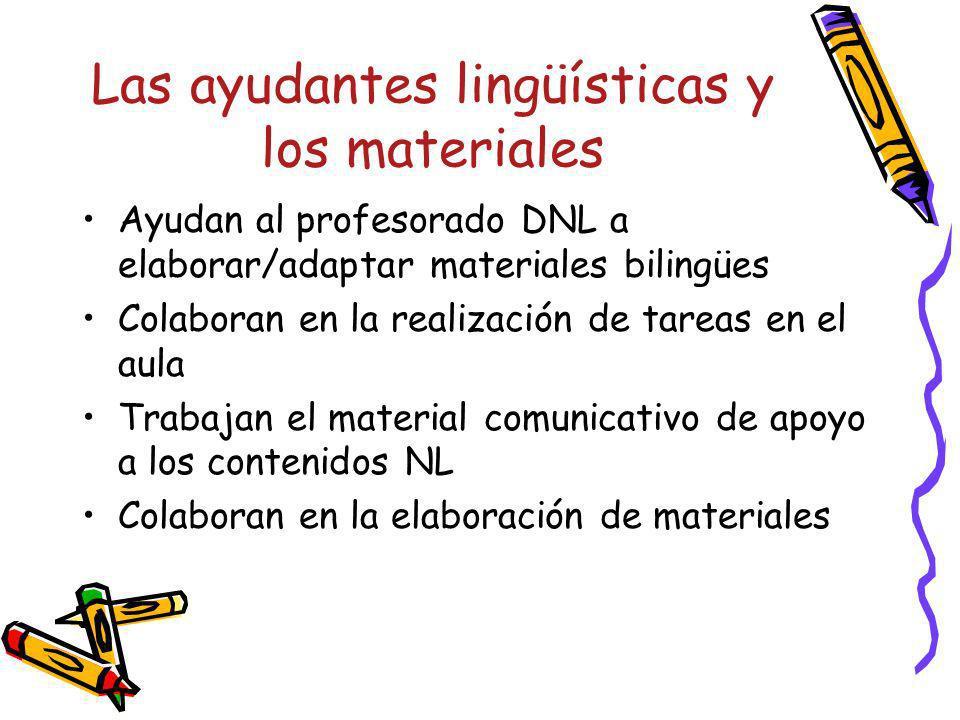 Las ayudantes lingüísticas y los materiales