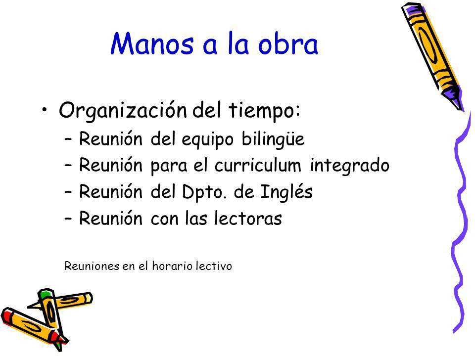 Manos a la obra Organización del tiempo: Reunión del equipo bilingüe