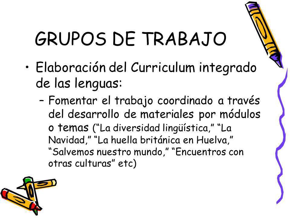 GRUPOS DE TRABAJO Elaboración del Curriculum integrado de las lenguas: