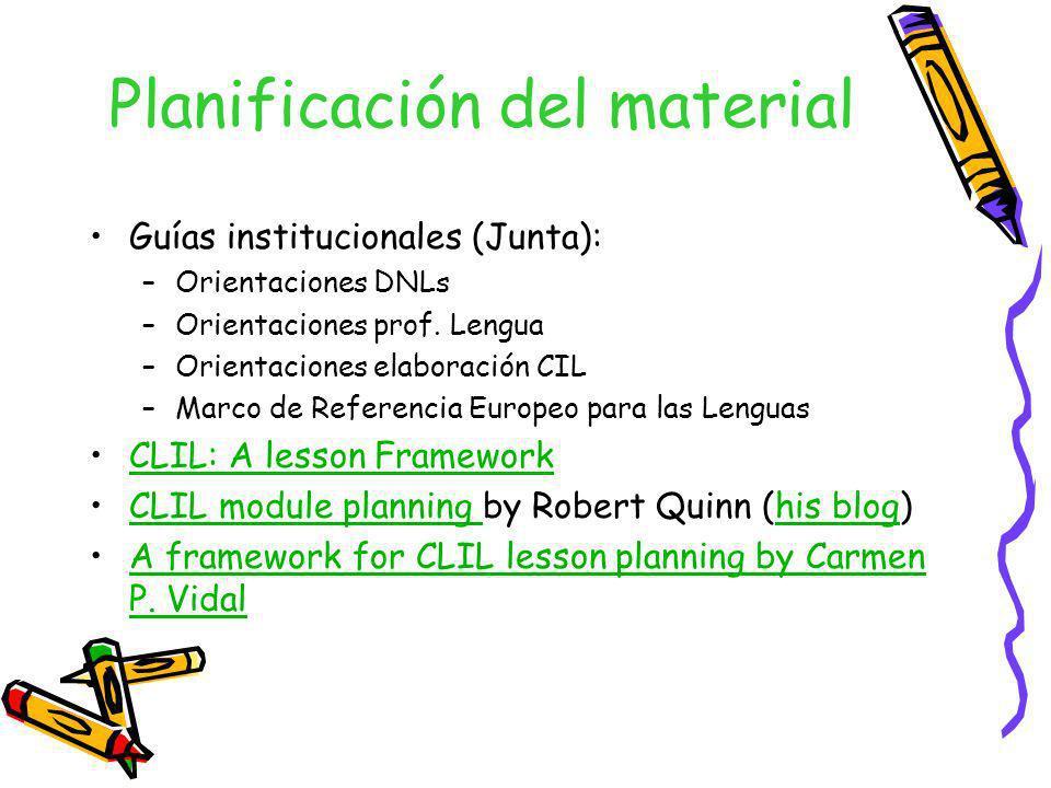 Planificación del material