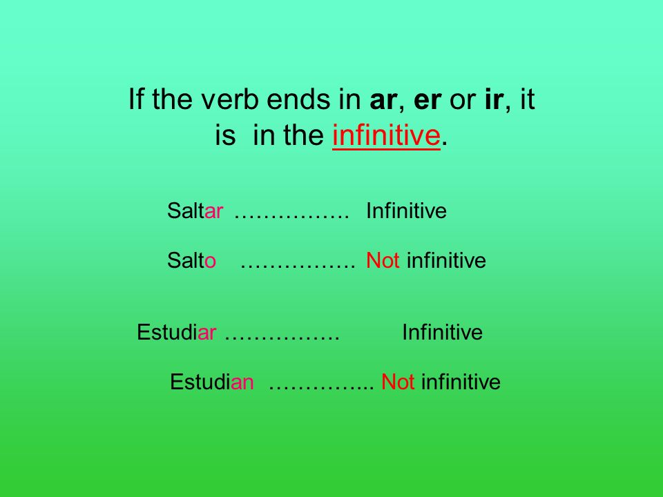 If the verb ends in ar, er or ir, it is in the infinitive.