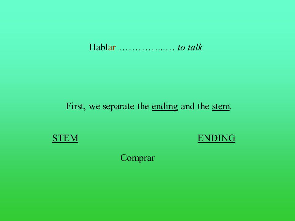 First, we separate the ending and the stem.