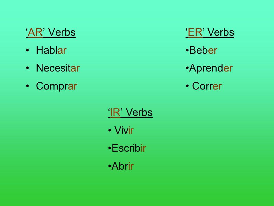 'AR' Verbs Hablar. Necesitar. Comprar. 'ER' Verbs. Beber. Aprender. Correr. 'IR' Verbs. Vivir.