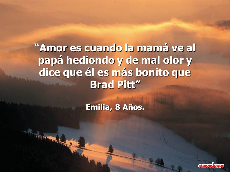 Amor es cuando la mamá ve al papá hediondo y de mal olor y dice que él es más bonito que Brad Pitt