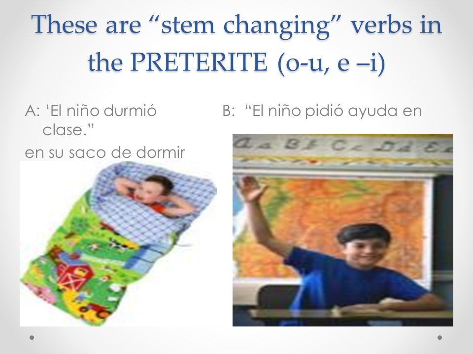 These are stem changing verbs in the PRETERITE (o-u, e –i)