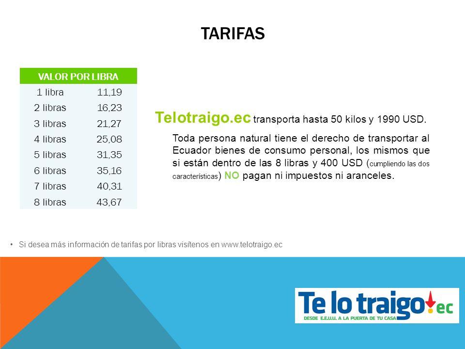 tarifas Telotraigo.ec transporta hasta 50 kilos y 1990 USD.