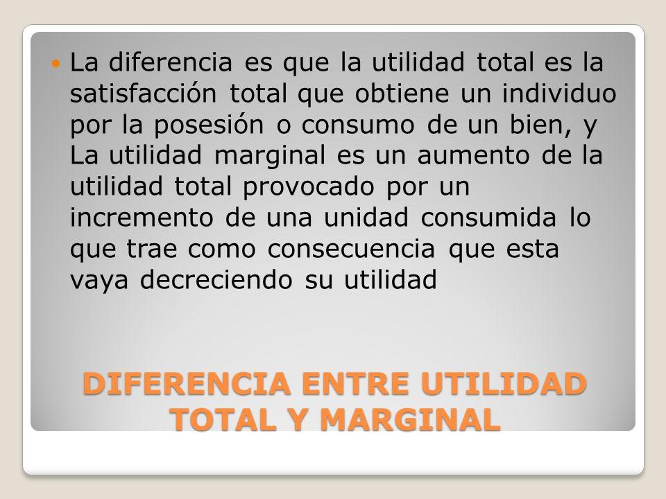 DIFERENCIA ENTRE UTILIDAD TOTAL Y MARGINAL