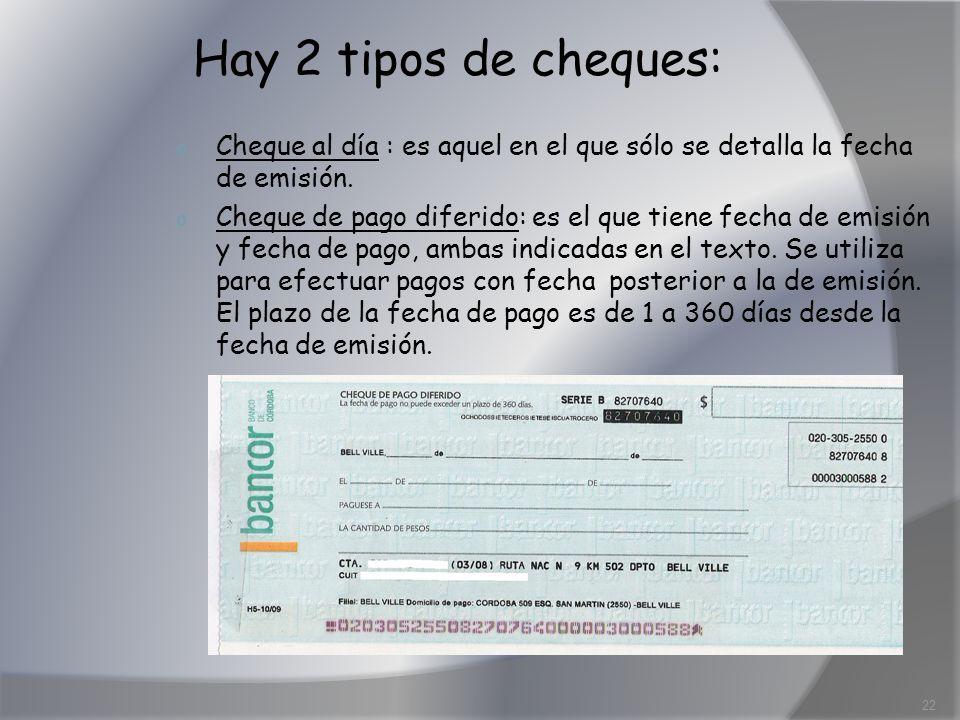 Hay 2 tipos de cheques: Cheque al día : es aquel en el que sólo se detalla la fecha de emisión.