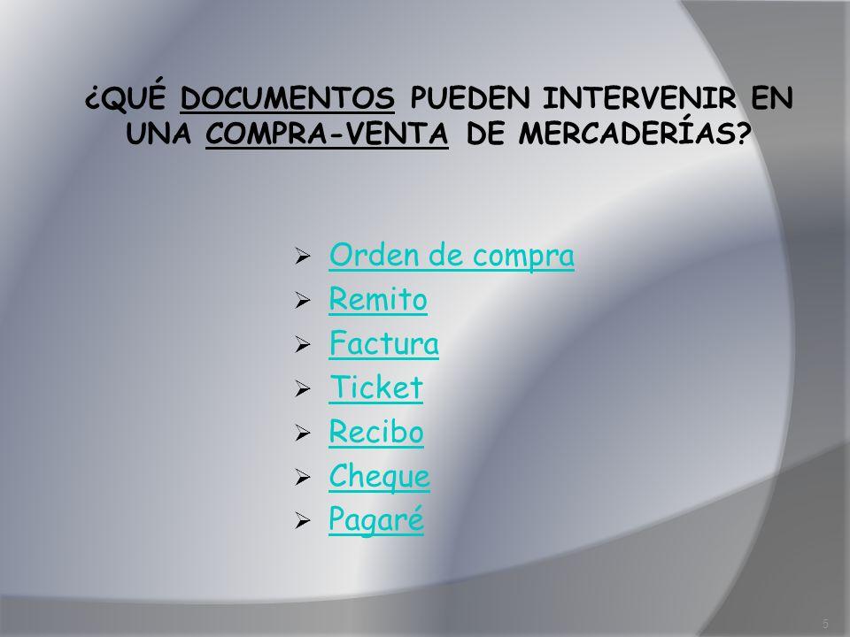 ¿QUÉ DOCUMENTOS PUEDEN INTERVENIR EN UNA COMPRA-VENTA DE MERCADERÍAS