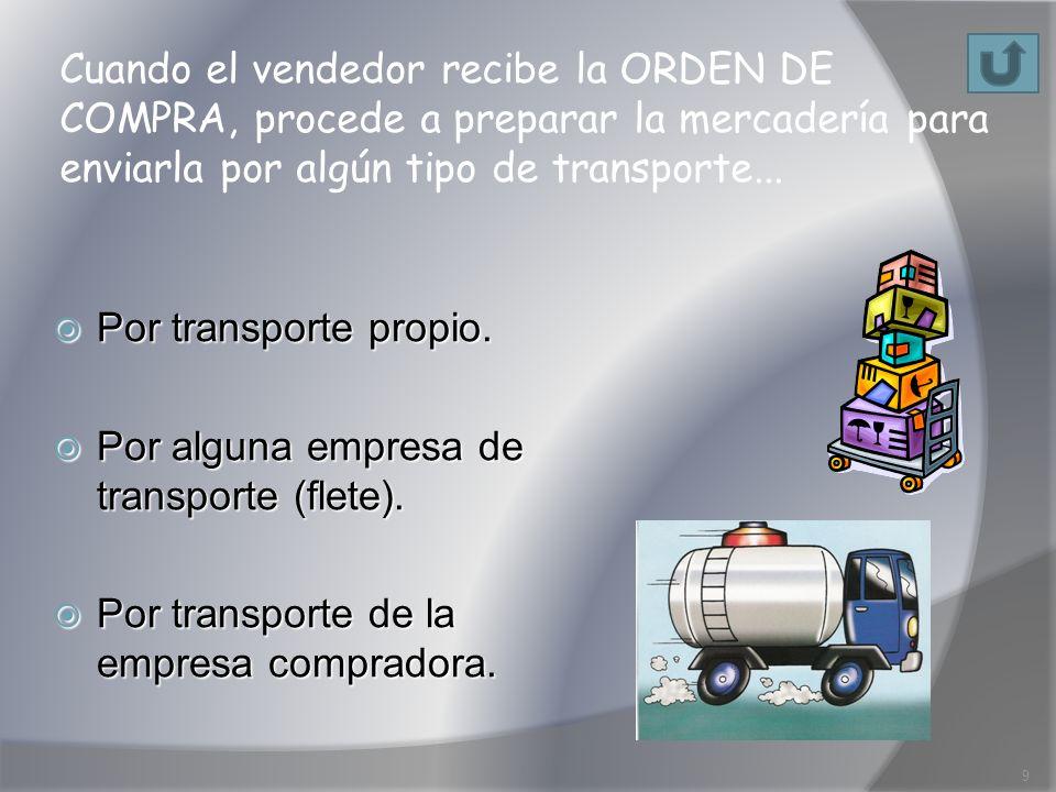 Cuando el vendedor recibe la ORDEN DE COMPRA, procede a preparar la mercadería para enviarla por algún tipo de transporte...