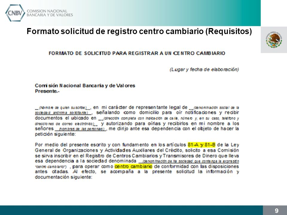 Formato solicitud de registro centro cambiario (Requisitos)