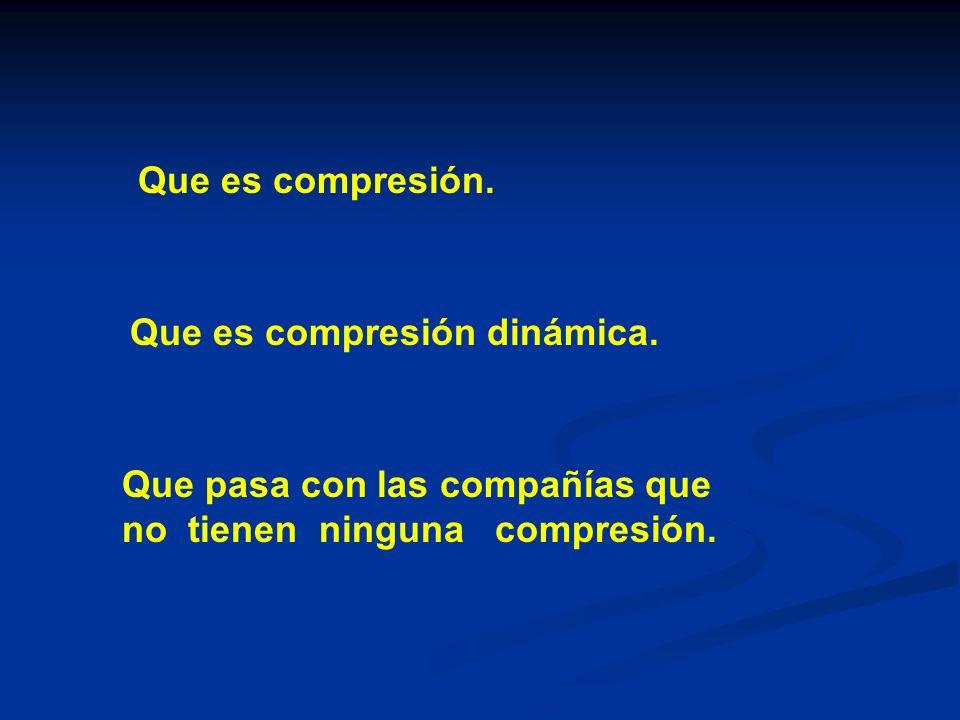 Que es compresión. Que es compresión dinámica. Que pasa con las compañías que.