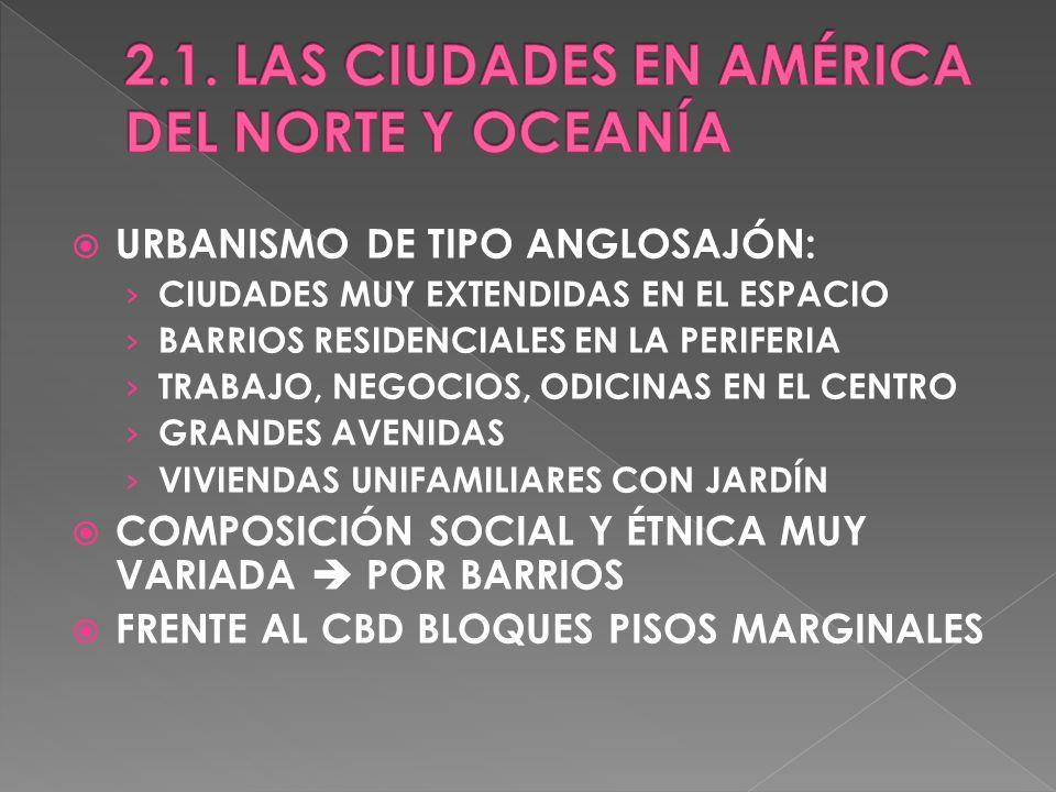 2.1. LAS CIUDADES EN AMÉRICA DEL NORTE Y OCEANÍA