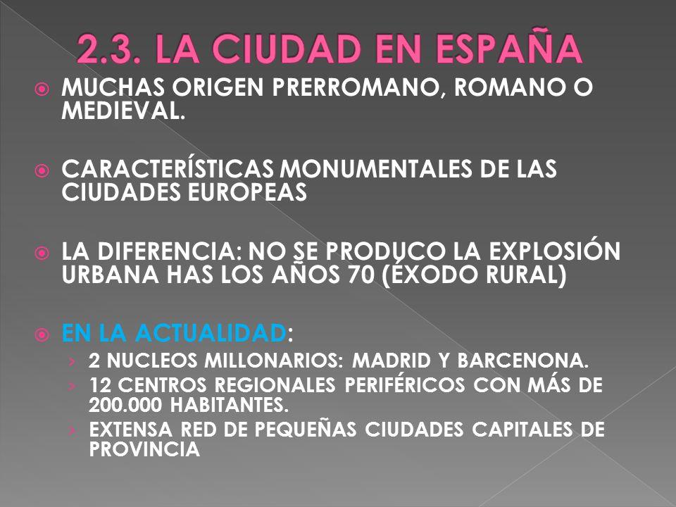 2.3. LA CIUDAD EN ESPAÑA MUCHAS ORIGEN PRERROMANO, ROMANO O MEDIEVAL.