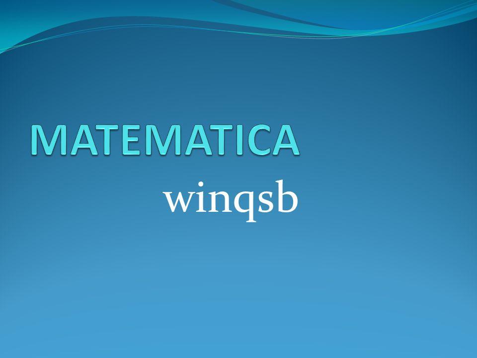 MATEMATICA winqsb
